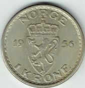 Norway, Haakon VII, One Krone 1956, VF, WE5807